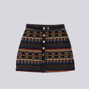 BDG Pattern Button Down Mini Skirt